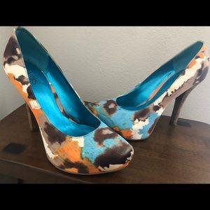 Super cute multi colored Carlos Santana heels